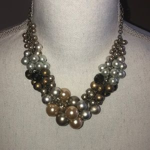 Lia Sophia cluster beaded pearl statement necklace